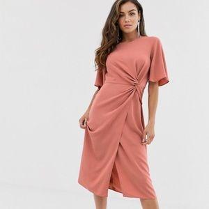 ASOS Pink Twist Front Midi Dress